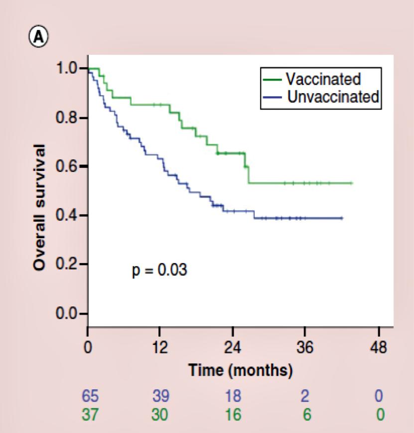 Dati relativi a pazienti anziani> 71 anni: netto aumento della sopravvivenza nei pazienti vaccinati